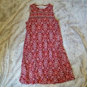 LOFT Sleeveless Swing Dress - Red Floral
